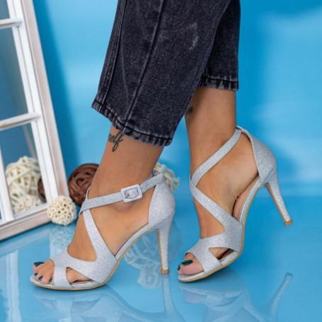 Sandale Dama cu Toc subtire YXD8A Argintiu Mei