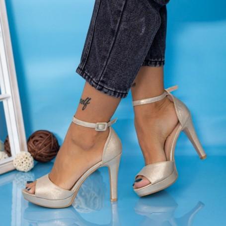 Sandale Dama cu Toc subtire YXD9 Auriu Mei