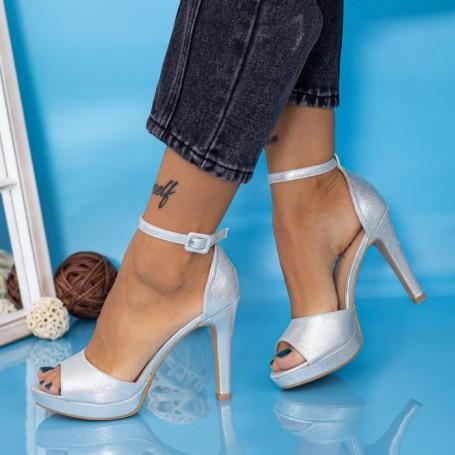 Sandale Dama cu Toc subtire YXD9 Argintiu Mei
