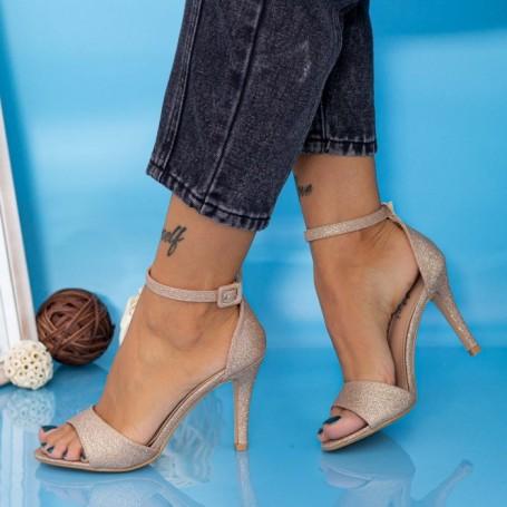 Sandale Dama cu Toc subtire YXD13A Champagne Mei