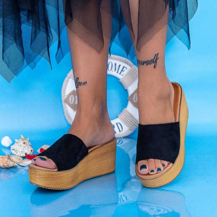 Papuci Dama cu Platforma FS23 Negru Mei