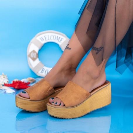 Papuci Dama cu Platforma FS23 Maro deschis Mei