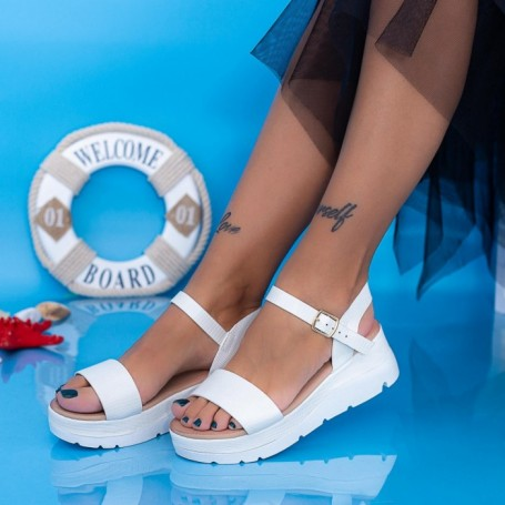 Sandale Dama cu Platforma FS37 Alb Mei
