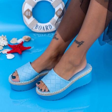 Papuci Dama cu Platforma KMD5 Albastru Mei