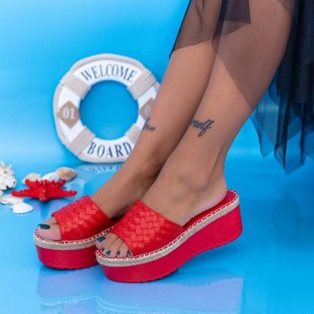 Papuci Dama cu Platforma KMD5 Rosu Mei