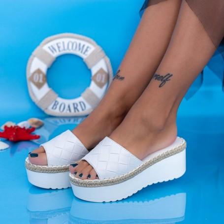 Papuci Dama cu Platforma KMD5 Alb Mei