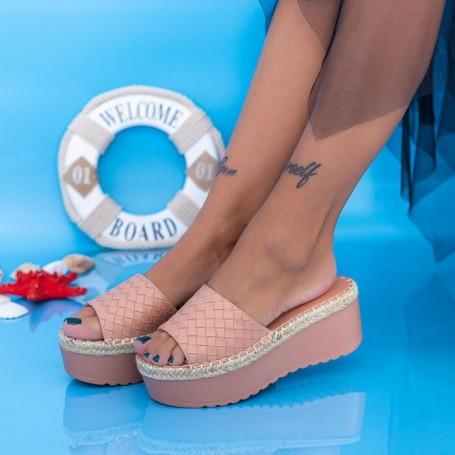Papuci Dama cu Platforma KMD5 Roz Mei
