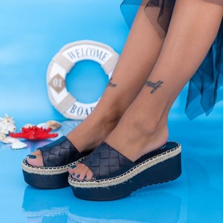 Papuci Dama cu Platforma KMD5 Negru Mei