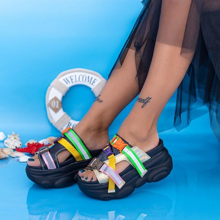Papuci Dama cu Platforma WLGH32 Negru Mei