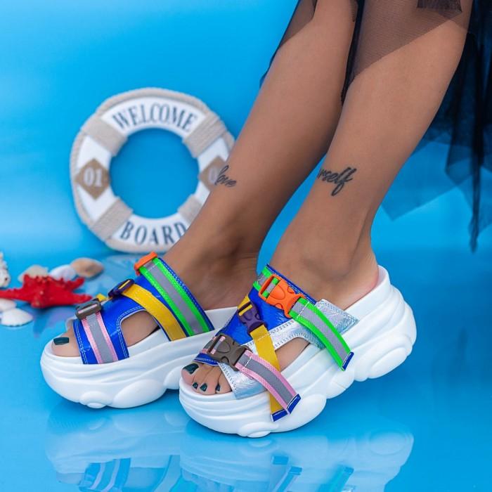 Papuci Dama cu Platforma WLGH32 Alb Mei
