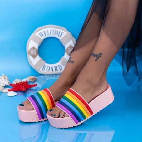 Papuci Dama cu Platforma X1 Roz Mei