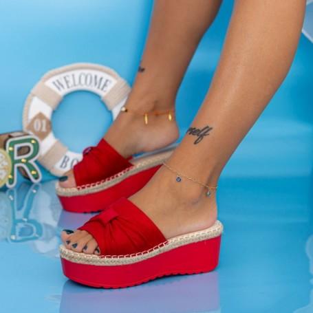 Papuci Dama cu Platforma KMD3 Rosu Mei