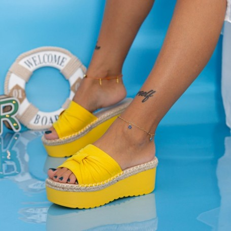 Papuci Dama cu Platforma KMD3 Galben Mei