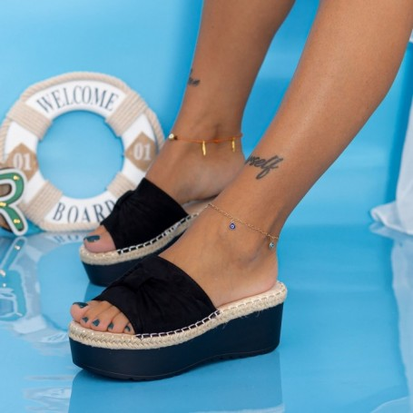 Papuci Dama cu Platforma KMD3 Negru Mei