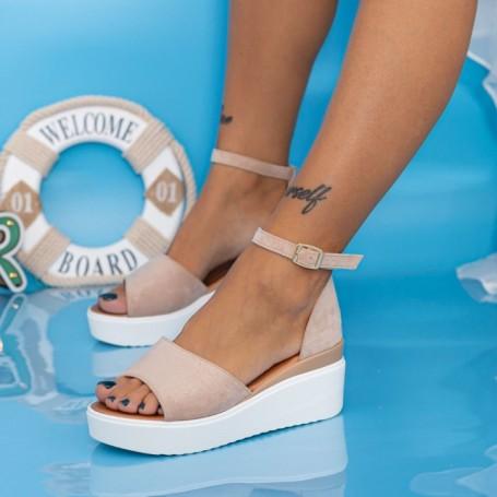 Sandale Dama cu Platforma PT18 Nude Mei