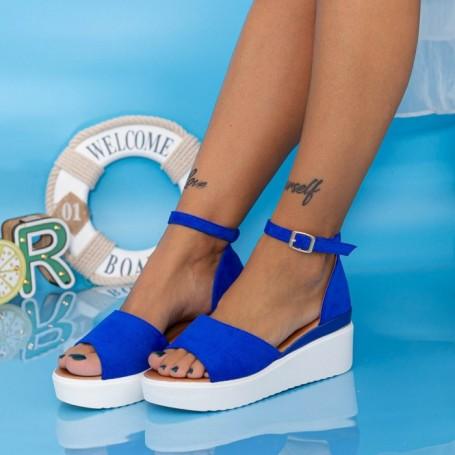 Sandale Dama cu Platforma PT18 Albastru Mei