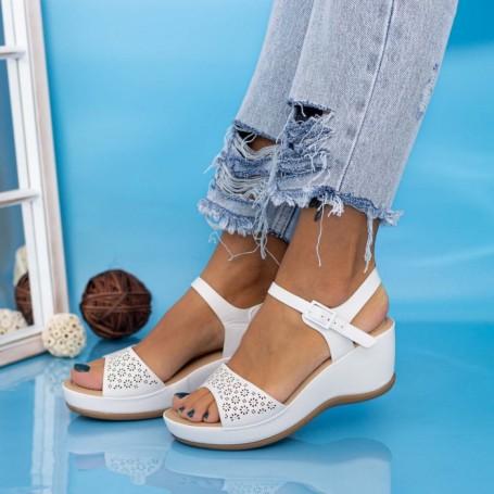 Sandale Dama cu Platforma GH1933 Alb Mei