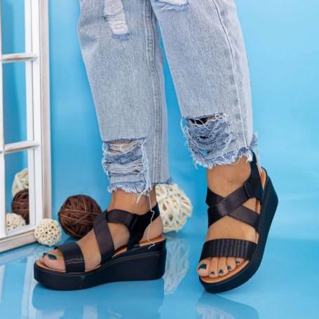Sandale Dama cu Platforma PT12 Negru Mei
