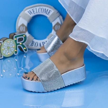 Papuci Dama cu Platforma X3 Argintiu Mei