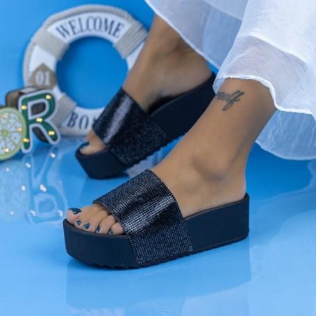 Papuci Dama cu Platforma X3 Negru Mei