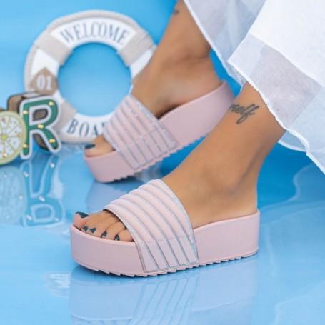 Papuci Dama cu Platforma X11 Roz Mei