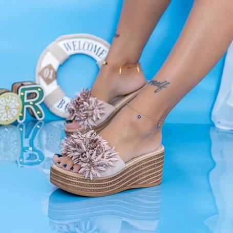 Papuci Dama cu Platforma WS203 Bej Mei