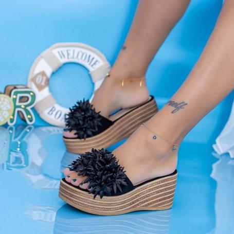 Papuci Dama cu Platforma WS203 Negru Mei