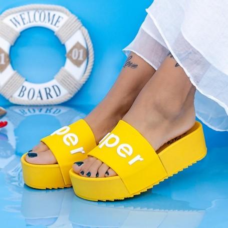 Papuci Dama cu Platforma X2 Galben Mei