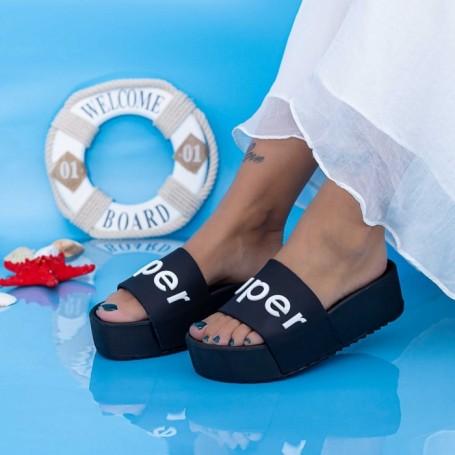 Papuci Dama cu Platforma X2 Negru Mei
