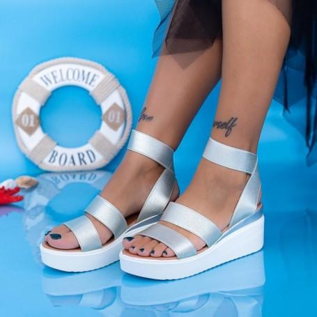 Sandale Dama cu Platforma PT13 Argintiu Mei