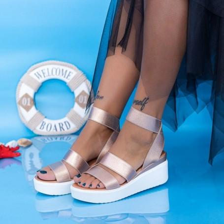 Sandale Dama cu Platforma PT13 Champagne Mei