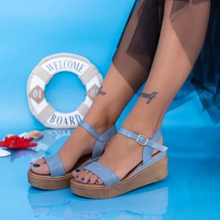 Sandale Dama cu Platforma PT17 Albastru Mei