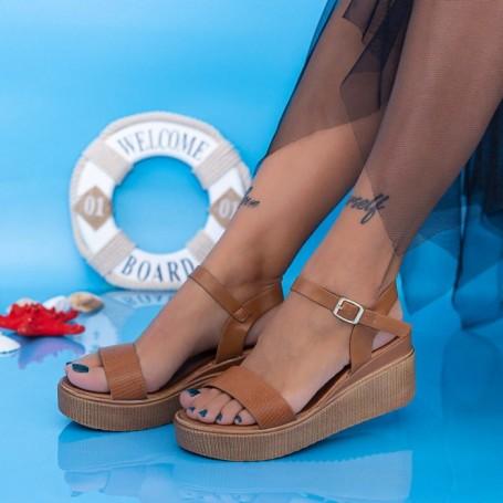Sandale Dama cu Platforma PT17 Maro Mei