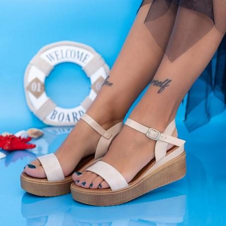 Sandale Dama cu Platforma PT17 Bej Mei