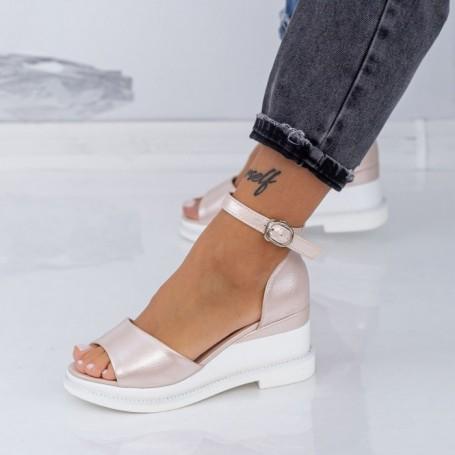 Sandale Dama cu Platforma WEN1 Champagne Mei