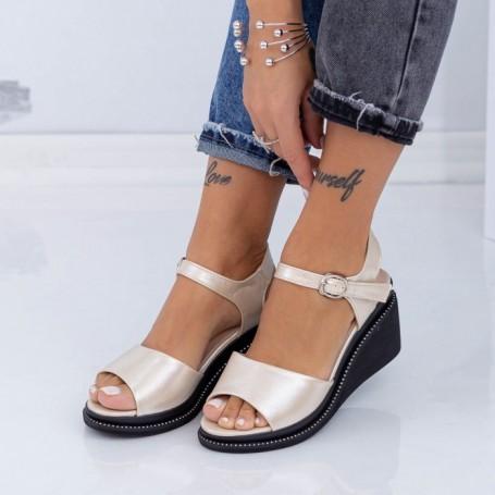 Sandale Dama cu Platforma WEN3 Auriu Mei