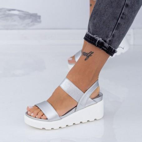 Sandale Dama cu Platforma LM298 Argintiu Mei