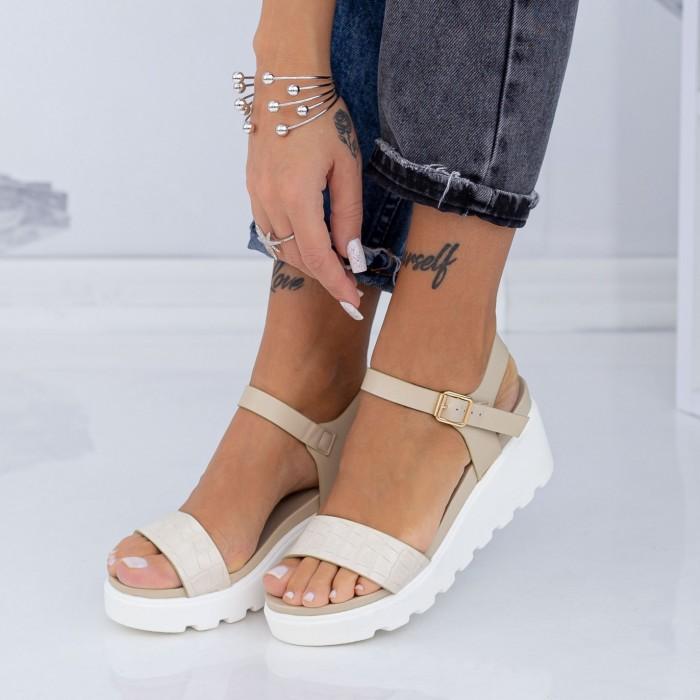 Sandale Dama cu Platforma LM300 Bej Mei