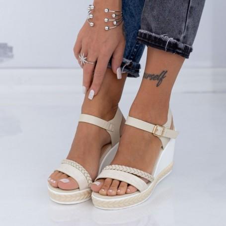 Sandale Dama cu Platforma LM323 Bej Mei