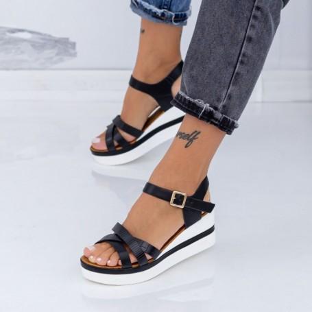 Sandale Dama cu Platforma LM325 Negru Mei