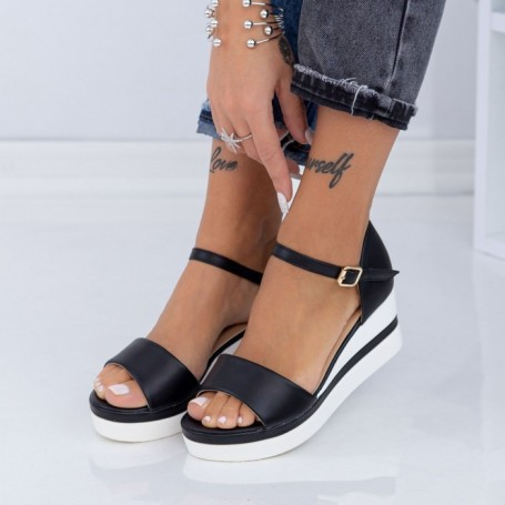 Sandale Dama cu Platforma LM327 Negru Mei
