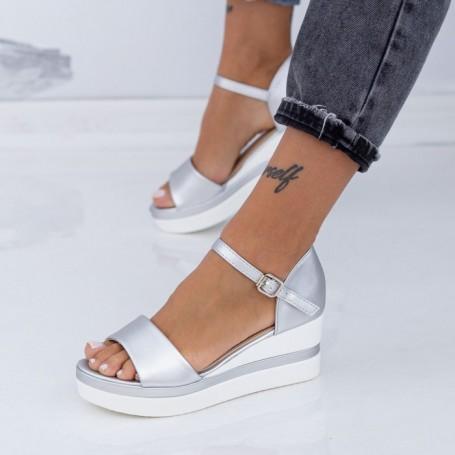 Sandale Dama cu Platforma LM327 Argintiu Mei