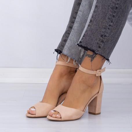 Sandale Dama cu Toc KV33 Beige Mei