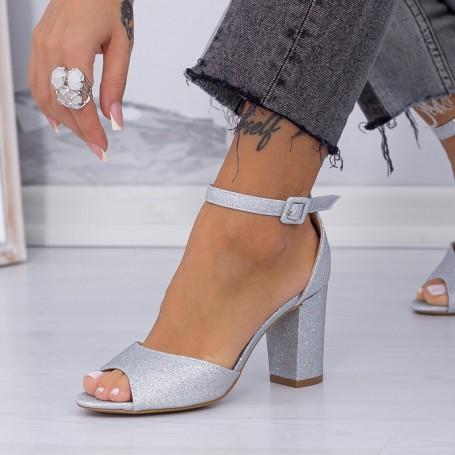 Sandale Dama cu Toc KV33A Silver Mei