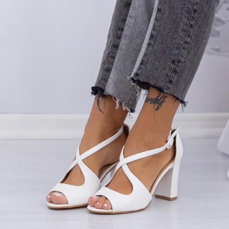 Sandale Dama cu Toc gros XD83A White (L80) Mei