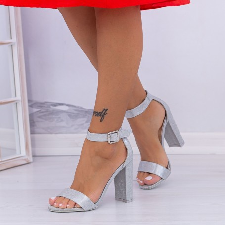 Sandale Dama cu Toc gros XKK236A Silver (---) Mei