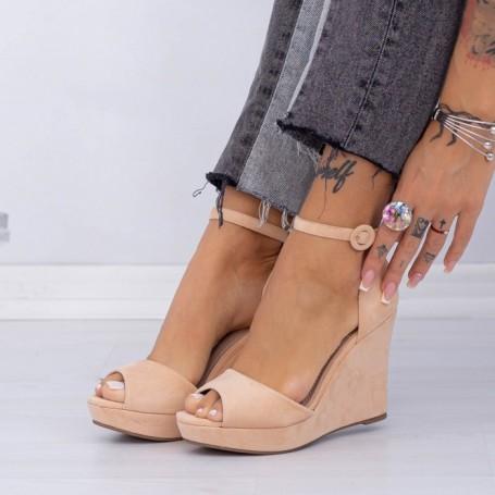 Sandale Dama cu Platforma XDT271 Nude Mei