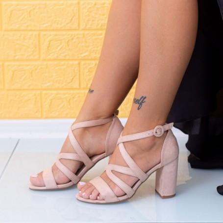 Sandale Dama cu Toc gros JSZ1 Nude Mei