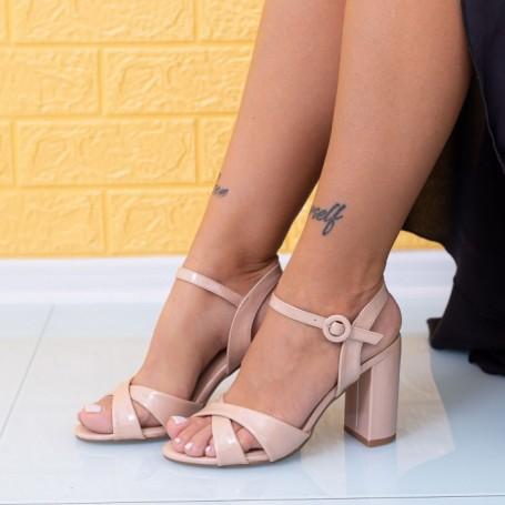 Sandale Dama cu Toc gros JSZ2 Nude Mei