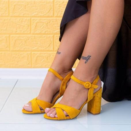 Sandale Dama cu Toc gros JSZ2 Galben Mei
